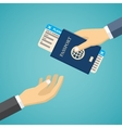 Businessman Receiving Boarding Pass and Passport vector image vector image