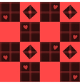 Chessboard Red Heart Valentine Background vector image vector image