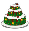 christmas layered biscuit cake covered with vector image vector image