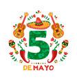 cinco de mayo card mexican mariachi decoration vector image vector image