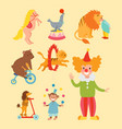 circus funny animals set of icons cheerful vector image vector image