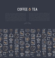 coffee and tea concept with thin line icons vector image