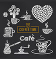 coffee sketch set coffee cups and beans vector image vector image