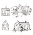 collection hand drawn houses village vintage vector image