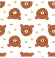 cute bear with bees seamless pattern on white vector image vector image