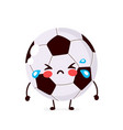 cute sad cry football ball character vector image vector image