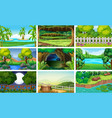 different scenes of forest and river vector image vector image