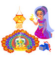 diwali holiday and woman with fire near rangoli vector image