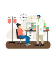doctor male nurse giving intravenous injection to vector image vector image