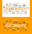 electricity power and energetics icons vector image