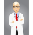 experienced male doctor posing over white vector image vector image