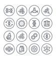 genetics line icons dna chain gene editing vector image vector image