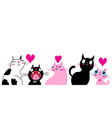 greeting card with loving cats and hearts vector image vector image
