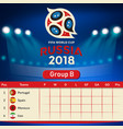 group b qualifier table russia 2018 world cup vect vector image vector image