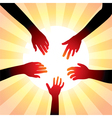 hands around sun vector image