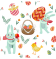 Happy Easter Seamless Pattern with Bunnies Chicks vector image vector image