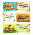healthy fresh sandwiches advertisement banners set vector image vector image