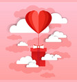 heart shaped air balloon fly with present box over vector image vector image