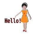 hello girl sticker for t-shirt postcard banner vector image vector image