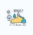hill landscape nature mountain rain flat icon vector image