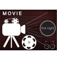 icons of the camera and film on a brick wall vector image vector image