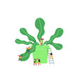 isolated social people group with green plant vector image