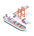 isometric ship cargo vector image vector image