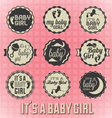 its a girl labels and icons vector image vector image