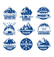 kayaking rafting and canoeing sport icons vector image