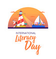 literacy day banner concept for kids education vector image vector image