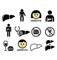 Liver disease Hepatitis health icons set