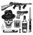 mafia and gangsters set objects or elements vector image vector image