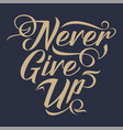 never give up typography vector image