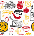 pattern with spanish food in hand-drawn style vector image vector image
