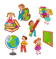 pupils with school supplies set isolated on white vector image vector image
