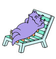 purple dragon resting on a deck-chair vector image vector image