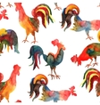 seamless pattern with fire cock on white vector image
