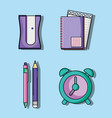 set education school utensils icons vector image vector image