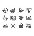 set finance icons such as target loan percent vector image vector image