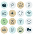 set of 16 nature icons includes snowstorm sun vector image vector image