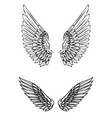 set wings in tattoo style isolated on white vector image vector image