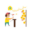 shooting gallery and boy isolated vector image vector image
