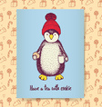 Sketch pinguin in hat vector image vector image