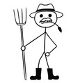 stickman cartoon of farmer with pitchfork and hat vector image