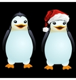 Two fun penguin in the Santa hat and without it vector image