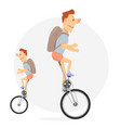 unicycle bike with one wheel vector image vector image
