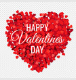 valentines day poster with red hearts transparent vector image vector image
