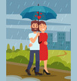 young loving couple walking by park in rain man vector image