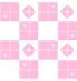 Chessboard Pink Heart Valentine Background vector image