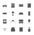 Furniture silhouettes icon set vector image